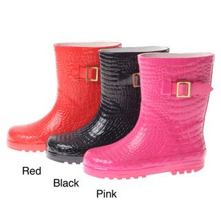 Henry Ferrera Girls Croco Embossed Rubber Rain Boots