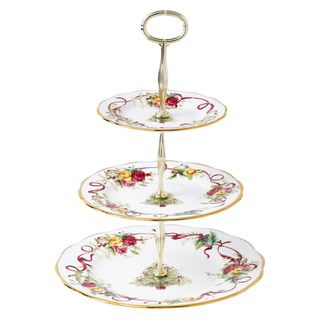 Royal Albert Old Country Roses Christmas Tree 3 Tier Cake Stand