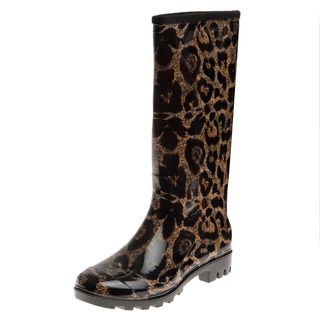 Henry Ferrera Womens Oversized Leopard Printed Rain Boots