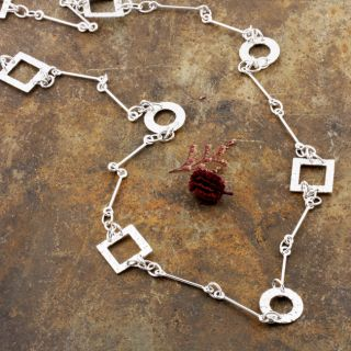 Sterling Silver Hammered Circles and Squares Necklace (Mexico