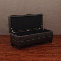 Leather Storage Bench Dark Brown