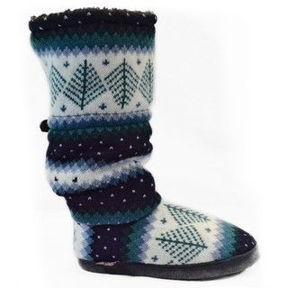 Muk Luks Blue Suede Vintage Toggle Slippers