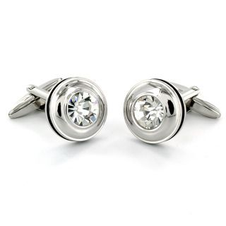 West Coast Jewelry Stainless Steel CZ Black Trim Cuff Links