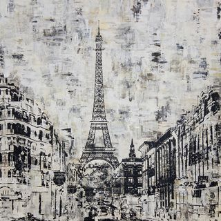 Art in Style La Tour Eiffel Paris Black and White Hand Painted Wall