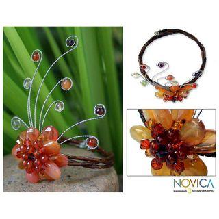 Chalcedony and Garnet Dream Flower Wrap Bracelet (Thailand