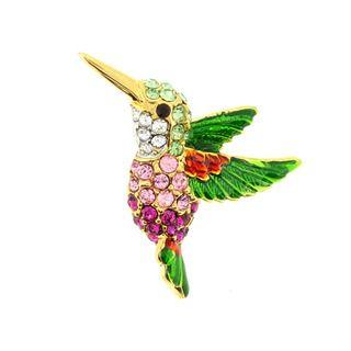 Goldtone Multi colored Crystal Hummingbird Brooch