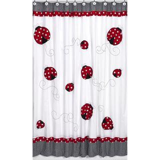 Polka Dot Ladybug Kids Shower Curtain