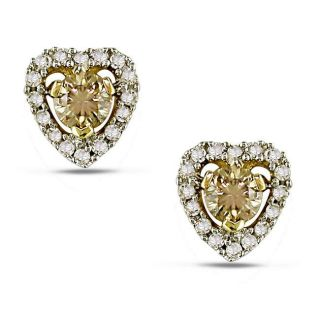 14k Yellow Gold 1/2ct TDW Brown and White Diamond Earrings (H I, I1 I2