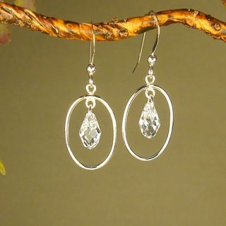 Jewelry by Dawn Oval Hoops With Crystal Moonlight Sterling Silver