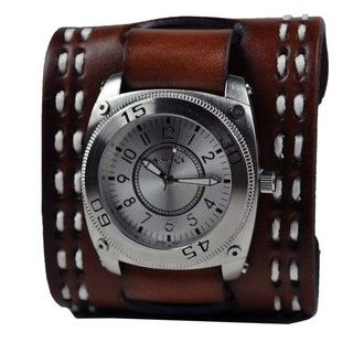 Nemesis Mens Silver Round Mix and Match Leather Watch