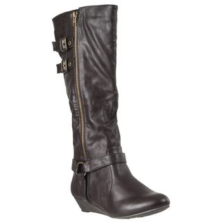 Riverberry Womens Tamara Brown Side zip Boots