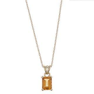 FJC 14k Yellow Gold Emerald cut Citrine Filigree Necklace