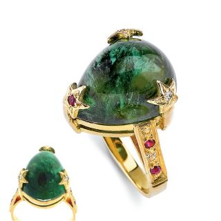 18k Gold Green Tourmaline and 4/5ct TDW Diamond Ring (G H, VSW SI1