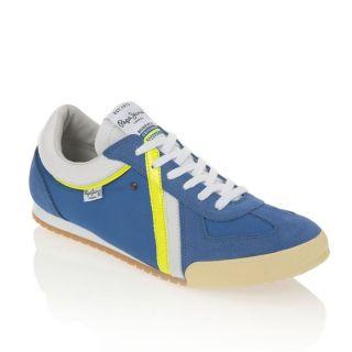 PEPE JEANS Baskets Conti Man Homme Bleu, blanc et jaune fluo.   Achat