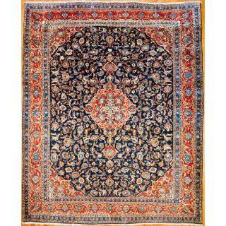 Persian Hand knotted Sarouk Navy/ Orange Wool Rug (101 x 124
