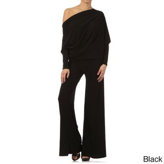 Tabeez Womens Black Jersey Draped Jumpsuit