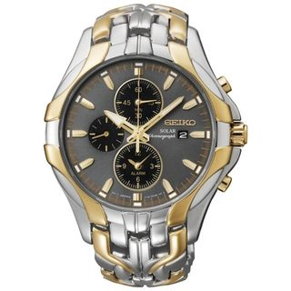 SEIKO Mens Solar Chronograph Gold Two Tone Watch