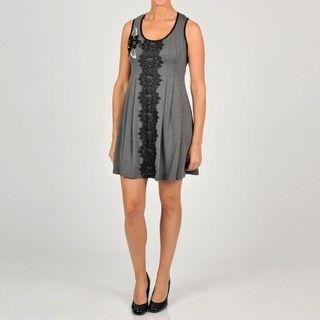 Oleg Cassini Womens Embellished Lace A Line Dress