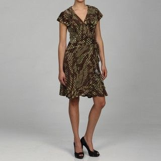 Connected Apparel Womens Brown Printed Dress