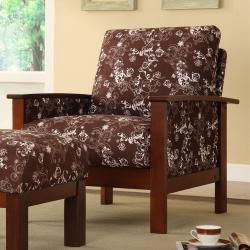 Hills Brown Floral Print Chair with Ottoman