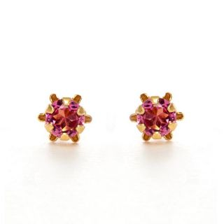 14k Yellow Gold Pink Tourmaline Birthstone Earrings