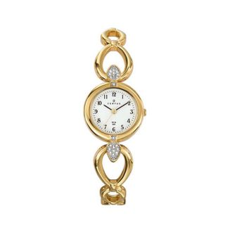 Certus Paris womens gold tone brass stones encrusted white dial watch
