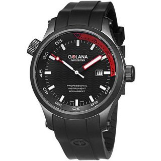 Golana Swiss Mens Aqua Pro 100 Black Rubber Strap Watch