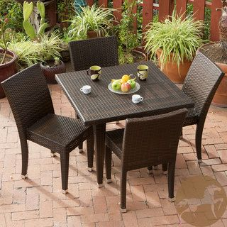 Christopher Knight Home All Weather Wicker 5 piece Outdoor Dining Set