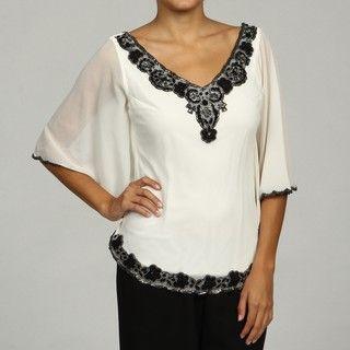 Laxmi Womens Bead embellished V neck Top