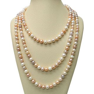 Multi colored Pink Freshwater Pearl 100 inch Endless Necklace (9 10 mm