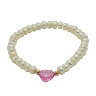 Junior Jewels White Freshwater Pearl and Crystal Baby Bracelet (6 mm