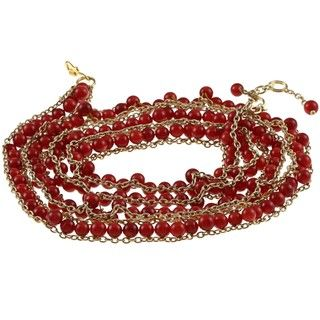 Goldplated Simulated Coral Cable Chain Wrap Bracelet