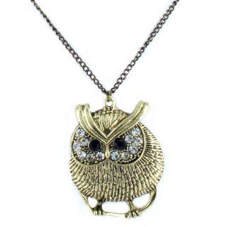 Goldtone Cubic Zirconia Owl Pendant