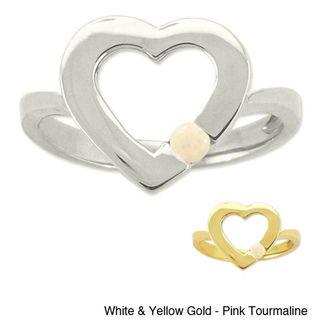 10k Gold Birthstone Open Heart Ring
