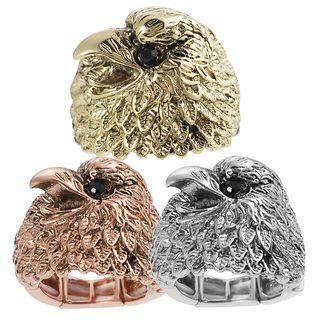 Journee Collection Base Metal Black Rhinestone Eagle Stretch Ring