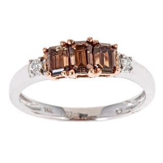 Yach 14k Two Tone Gold 1 1/10ct TDW Brown and White Diamond Ring (G