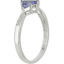 14k White Gold Tanzanite and Diamond 3 stone Ring