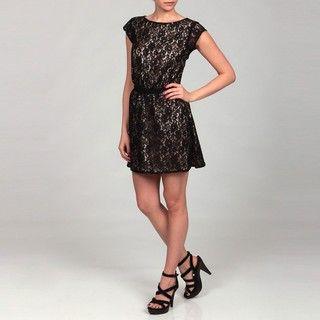 Dylan & Rose Juniors Black Lace Cut out Back Dress