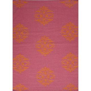 Flat Weave Moroccan Pink Wool Rug (9 x 12)