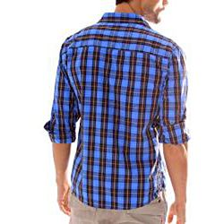 191 Unlimited Mens Blue Plaid Snap button Shirt