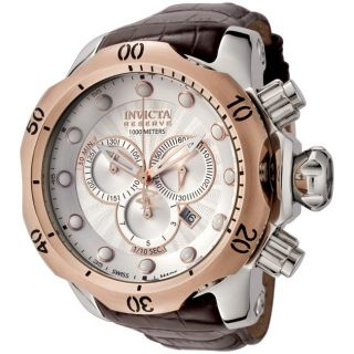 Invicta Mens Reserve Brown Leather Chronograph Watch