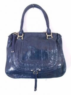 BESSO Blue Snakeskin Luxury Italian Handbag Tote Bag Purse