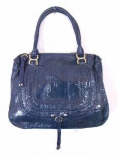 BESSO Blue Snakeskin Luxury Italian Handbag Tote Bag Purse