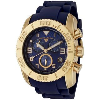 Swiss Legend Mens Commander Blue Dial Blue Silicone Chronograph Watch