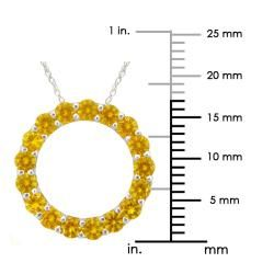 10k Gold November Birthstone Small Prong set Citrine Circle Necklace