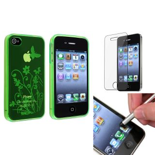 Green Butterfly TPU Case/ LCD Protector/ Stylus for Apple iPhone 4/ 4S