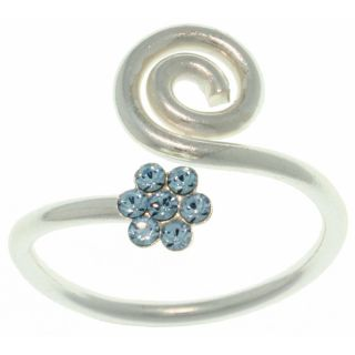 CGC Sterling Silver Blue Crystal Flower Swirl Ring Today $14.69 Sale