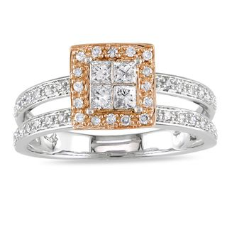 Miadora 14k Two tone Gold 1/2ct TDW Diamond Halo Ring (G H, I1 2