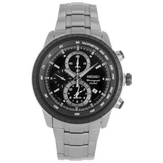 Seiko Mens Chronograph Stainless Steel Black Dial Watch
