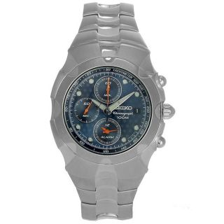Seiko Mens Chronograph Stainless Steel Blue Dial Watch